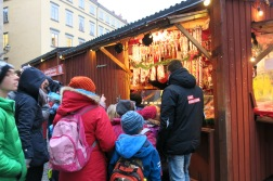 small christmas market right outside nobel museum